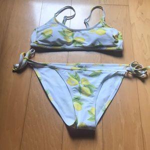 Lemon print two piece bikini